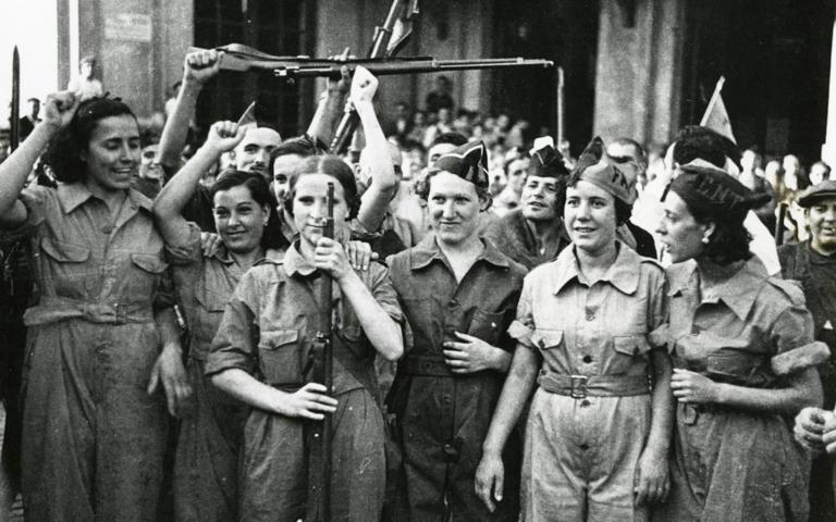 Anarchistische Milizionär*innen in Barcelona, 1936